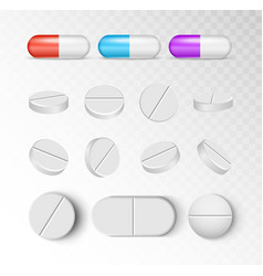 pills medicine capsule icon isolated set vector image