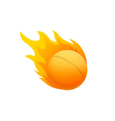 ping pong ball in fire flame fireball cartoon vector image