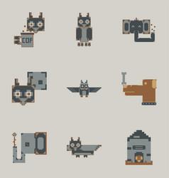 Pixel art collection of cute 8 bit animals vector