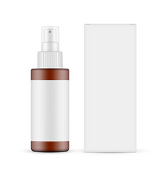 Plastic frosted amber spray bottle with blank box vector