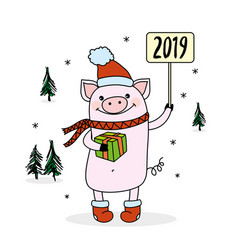 Pork symbol of new 2019 yeartrees and snowflakes vector