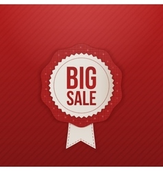 Realistic big Sale red Label and white Ribbon vector