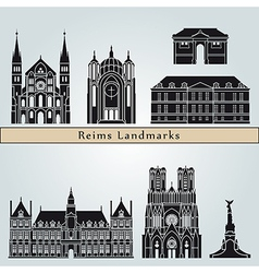 Reims landmarks and monuments vector image