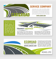 Road and transportation services banner set vector