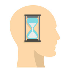 Sandglass inside a man head icon isolated vector