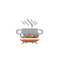 saucepan with food on fire cooking for logo vector image