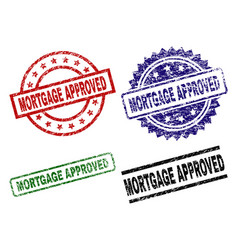 Scratched textured mortgage approved seal stamps vector