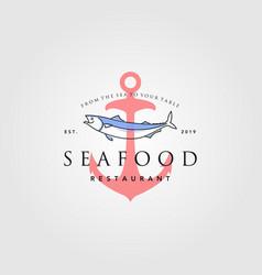 seafood logo vintage hipster anchor label badge vector image
