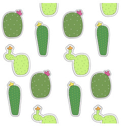 seamless pattern of mexican cactus flower cactus vector image