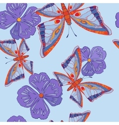 Seamless pattern with butterflies and flowers vector