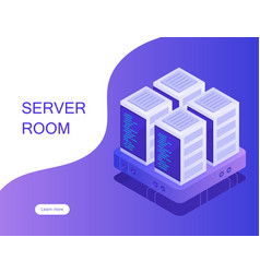 Server room hosting with cloud data storage vector