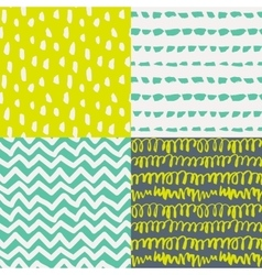 Set 4 decorative artistic seamless patterns vector