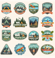 set camp and kayak club badges concept vector image