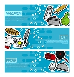 set horizontal banners about cooking vector image