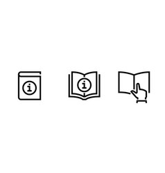 set logo information and reading book icons vector image