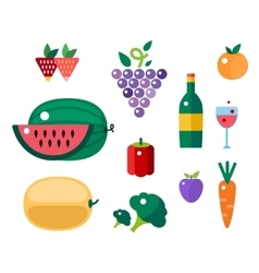 Set of colorful cartoon fruit and vegetables icons vector
