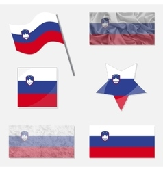 Set with flags of slovenia vector