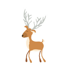 Silhouette caricature color of funny reindeer with vector