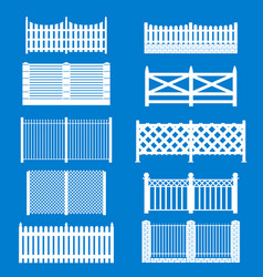 silhouette white fence icon set vector image