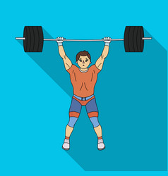 strong weightlifter raises the bar in the gymthe vector image