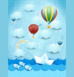 summer seascape with hot air balloons and paper vector image