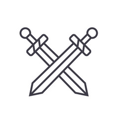 Swords line icon sign on vector