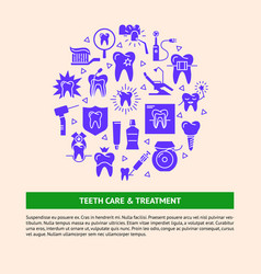 Teeth care and treatment round concept banner in vector