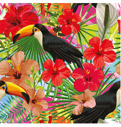 toucan leaves and flowers seamless pattern vector image