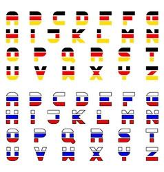 Tricolor flag font alphabet letters vector