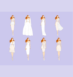 wedding dresses in different styles vector image