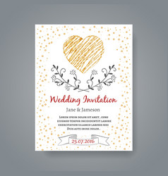 Wedding invitation card template with hand drawn vector image