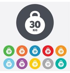 Weight sign icon 30 kilogram kg Sport symbol vector