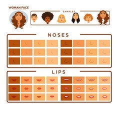 woman face constructor with samples of noses vector image
