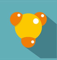 Yellow molecule icon flat style vector