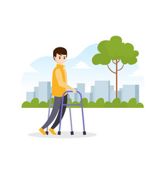 Young man using walkers while walking vector