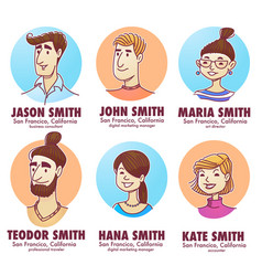 Young professionals doodle people avatars for vector