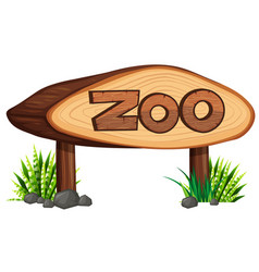 Zoo sign made of wood vector