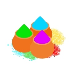 Colorful tika powders icon isometric 3d style vector