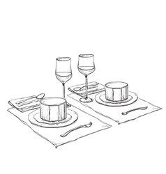 Hand Drawn wares Romantic dinner for two vector image vector image