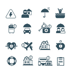 insurance icons protection and safety vector image vector image