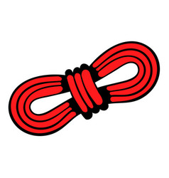 red rope and carabiners icon in icon cartoon vector image