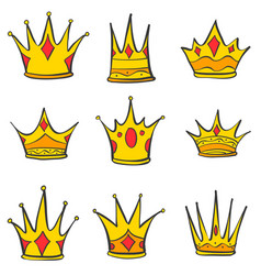 various gold crown style doodles vector image vector image