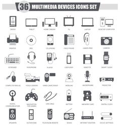 Multimedia devices black icon set Dark vector image
