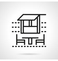 Outdoor cafe black simple line icon vector image
