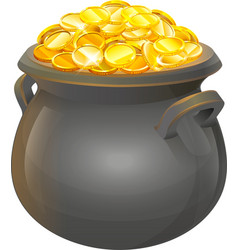 Pot of gold coins Full cauldron of gold vector image vector image