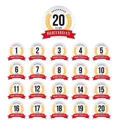 birthday badge label set vector image