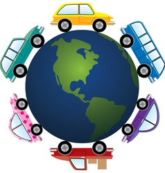 cars around earth globe vector image vector image