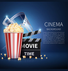 cinema 3d movie background with popcorn and vector image vector image