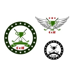 Golf tournament emblems and symbols vector image