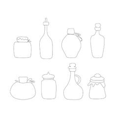 Hand drawn Jar set Sketched jars and vector image